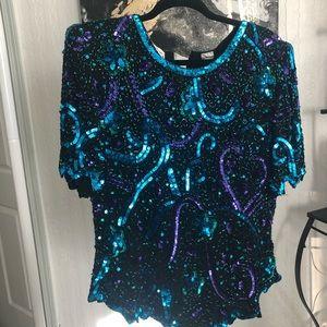 COPY - Vintage sequin short sleeve blouse